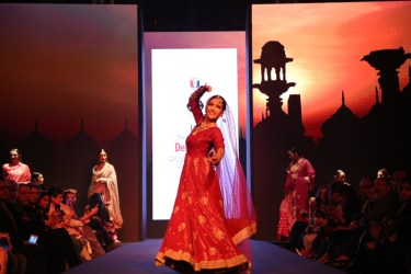 Meera Muzaffar Ali's show at Dream Diamonds Delhi Times Fashion Week witnessed unique ramp walk choreographed by Birju Maharaj
