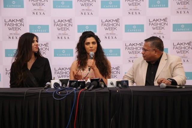 Designer Nishka Lulla, showstopper Saiyami Kher and Sudip Ghose, SVP, VIP Industries Ltd. at the Caprese collection for LFW SR18