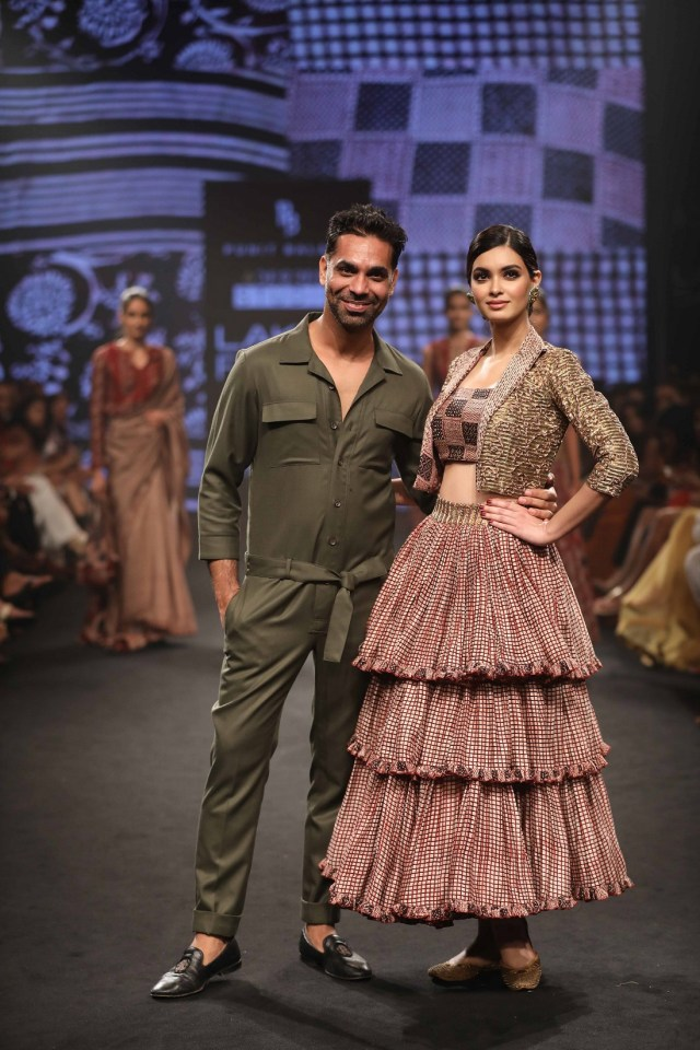 Punit Balana with showstopper Diana Penty for the collection Rose Garden at Lakme Fashion Week Summer Resort 2018