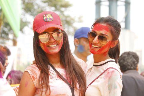 07 Sana Khan with Erica Fernandes @ Holi Invasion