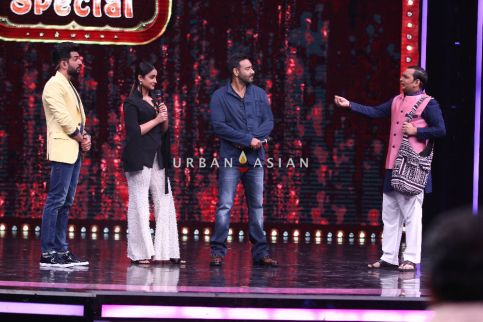 Ajay and Ileana with the hosts Jay Bhanushali and Paritosh on the sets of Sony Television's Super Dancer Chapter 2