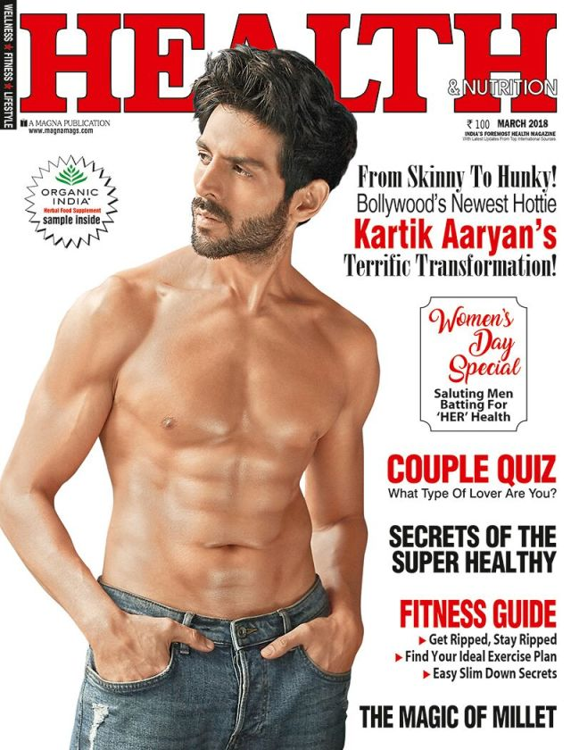 Kartik Aaryan on cover of Health and Nutrition cover