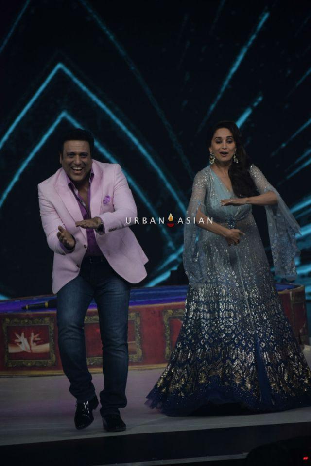 Govinda and Madhuri Dixit on the set sof Dance Deewane