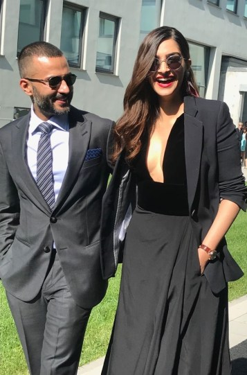 Sonam Ahuja and Anand dressed in Giorgio Armani