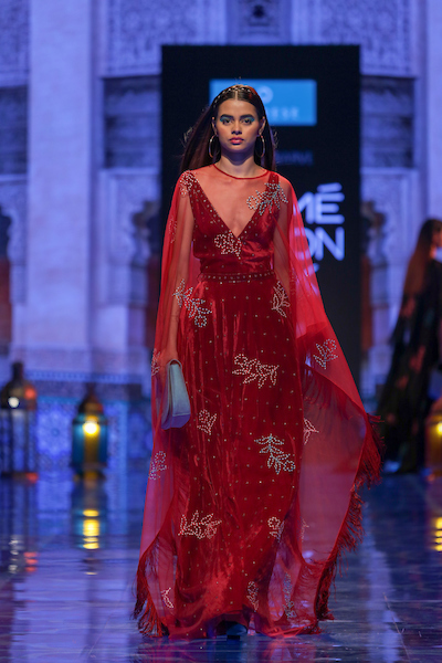 Models walk the ramp during day 3 of LFWWF19, Show 7 Caprese X Nachiket Barve held at St.Regis in Mumbai on 23rd of August 2019. Photo : Focus Sports/ LFWWF2019/ IMGR