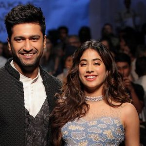 Janhvi Kapoor wearing Rahul Mishra and Vicky Kaushal wearing Kunal Rawal walk at Trends presents Gen Next Alumni at LFW SR 2020