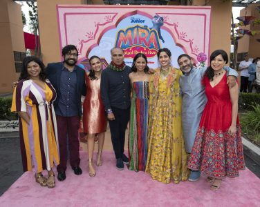 """MIRA, ROYAL DETECTIVE - Disney Junior hosted the world premiere of upcoming animated series """"Mira, Royal Detective"""" at The Walt Disney Studios in Burbank, CA on Saturday, March 7. Cast members including Freida Pinto, Utkarsh Ambudkar and Leela Ladnier were joined by special guests and their families. Debuting March 20, 2020 in the U.S. and India, the series is set in the magical Indian-inspired land of Jalpur and follows the brave and resourceful Mira, a young girl who is appointed to the role of royal detective by the Queen. (Disney Junior/Image Group LA) AARTI SEQUEIRA, HARI KONDABOLU, LEELA LADNIER, IQBAL THEBA, KAREN DAVID, FREIDA PINTO, PARVESH CHEENA, SONAL SHAH"""