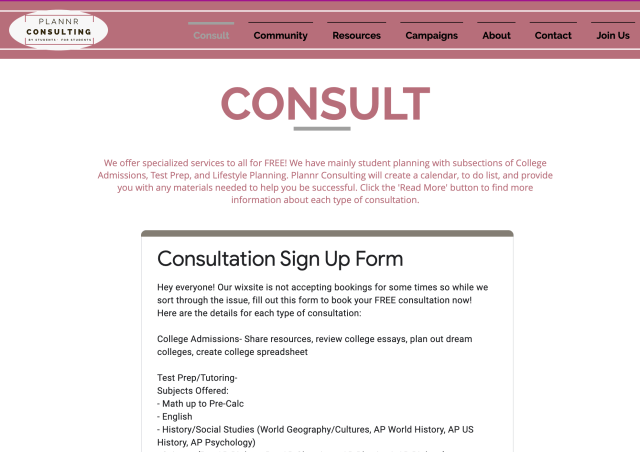 Consult page