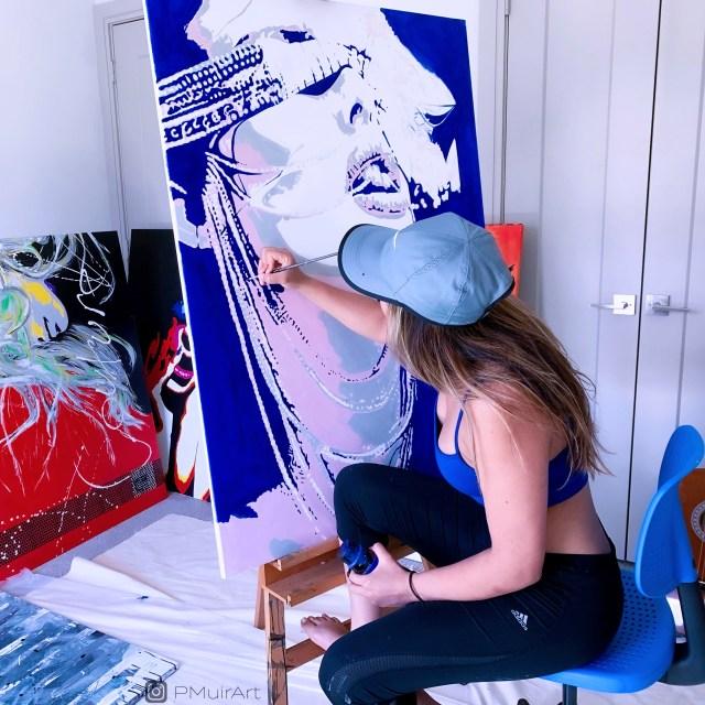 Pratiksha poses with her art.