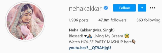 Neha Kakkar Mrs Singh