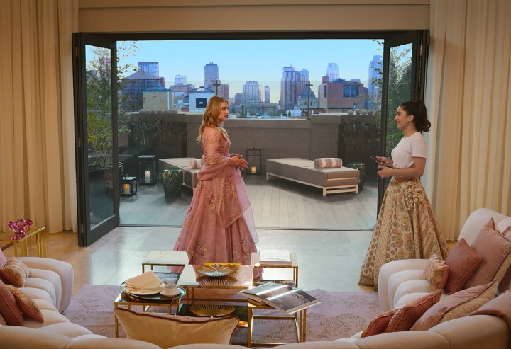 Chloe Moretz, Colin Jost and the cast of Tom & Jerry wear couture Indian fashion for Big Fat Indian Wedding scene