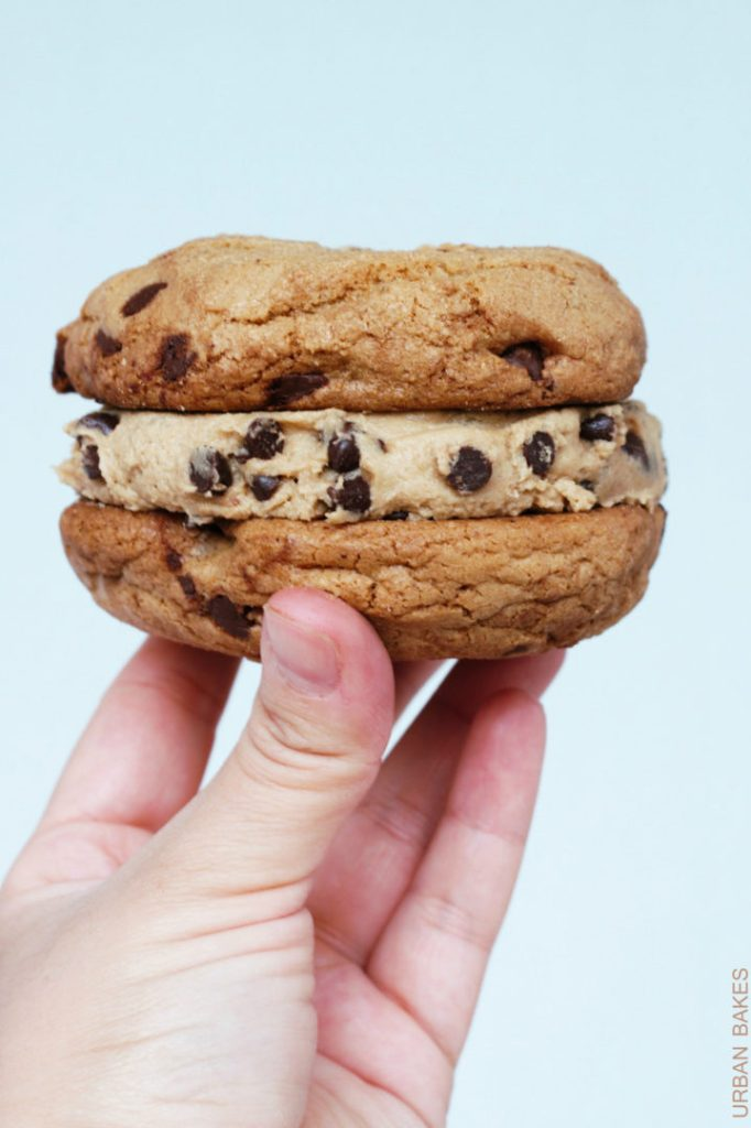 Browned Butter Chocolate Chip Cookie Sandwiches with Edible (Eggless) Cookie Dough   urbanbakes.com  #chocchipcookieweek