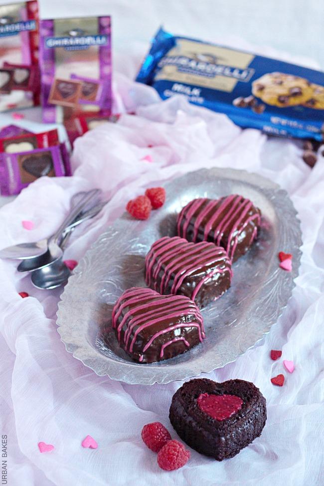Raspberry Glazed Mini Chocolate Cakes | URBAN BAKES   #GhirardelliVday #CG