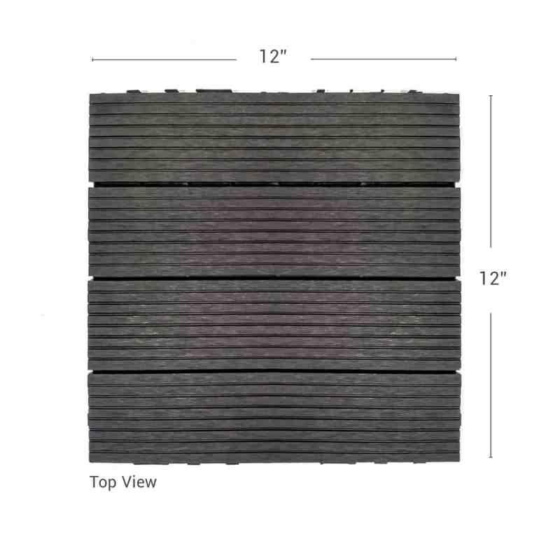 Charcoal Dura composite down shot showing deck tile dimensions