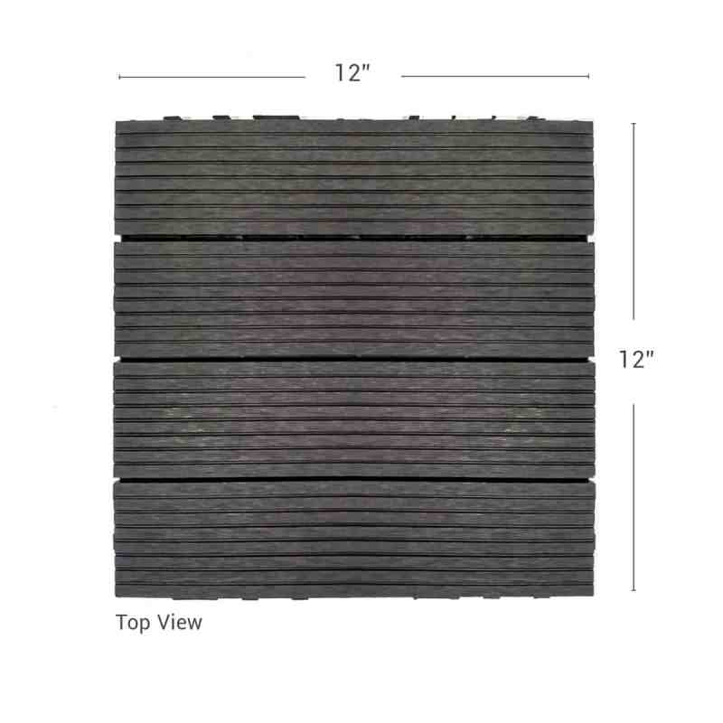Charcoal Dura composite down shot showing deck tile dimensions