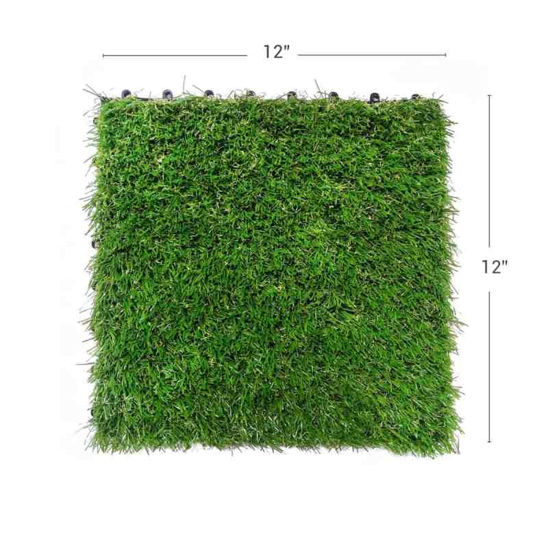 Artificial turf deck tile down shot showing deck tile dimensions