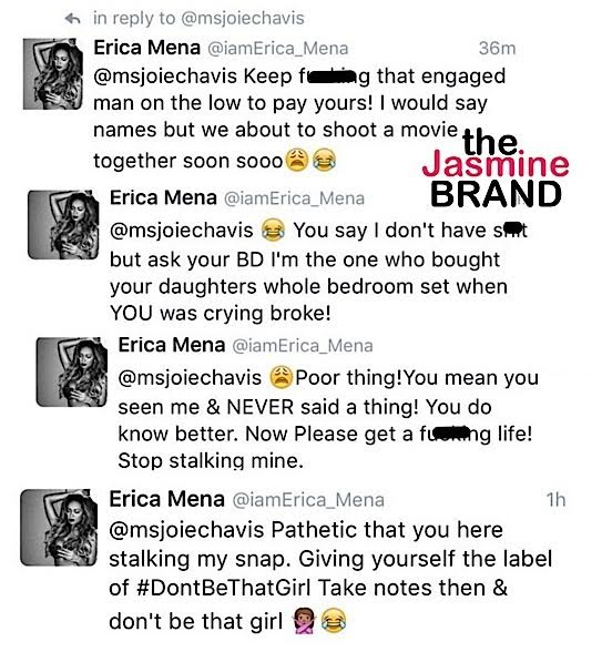 d7c57669e0cc So she responded and of course Erica clapped back in some now deleted  tweets (screenshots via The Jasmine Brand)