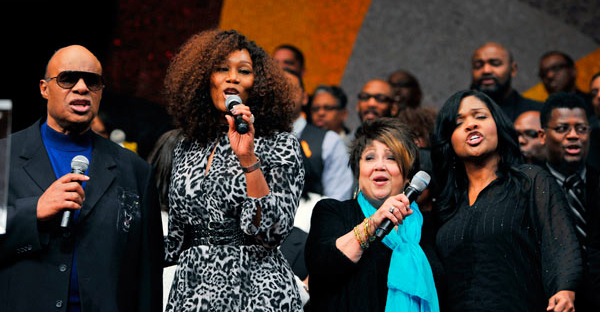 (l-r) Stevie Wonder, Yolanda Adams, Tata Vega and CeCe Winans (Photos Credit: Valerie Goodloe, Cover Up Photos)