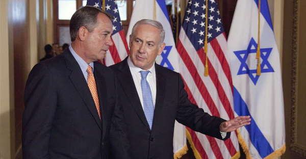 In this May 24, 2011 file photo, Israeli Prime Minister Benjamin Netanyahu walks with House Speaker John Boehner of Ohio to make a statement on Capitol Hill in Washington. (AP Photo/Evan Vucci, File)