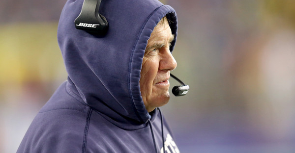 Head coach Bill Belichick of the New England Patriots looks on against the Indianapolis Colts of the 2015 AFC Championship Game at Gillette Stadium on January 18, 2015 in Foxboro, Massachusetts. (Jim Rogash/Getty Images North America)