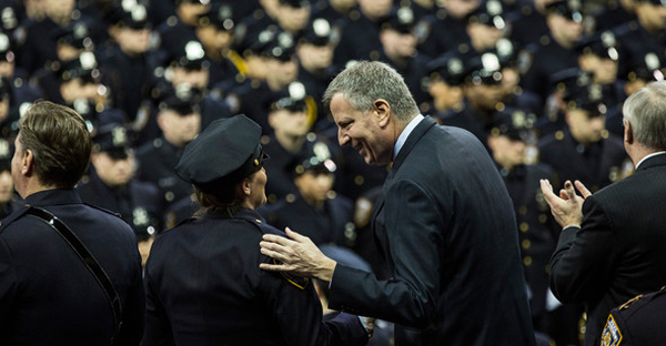 New York City Mayor Bill de Blasio attends a New York Police Department graduation ceremony at Madison Square Garden on December 29, 2014 in New York City. (Andrew Burton/Getty Images North America)