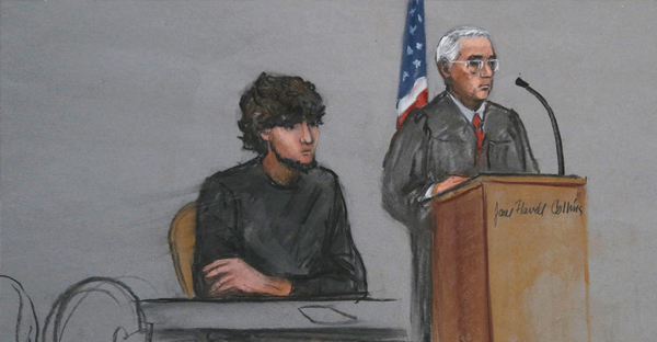 In this Monday, Jan. 5, 2015 file courtroom sketch, Boston Marathon bombing suspect Dzhokhar Tsarnaev, left, is depicted beside U.S. District Judge George O'Toole Jr., right, as O'Toole addresses a pool of potential jurors in a jury assembly room at the federal courthouse, in Boston. (AP Photo/Jane Flavell Collins, File)