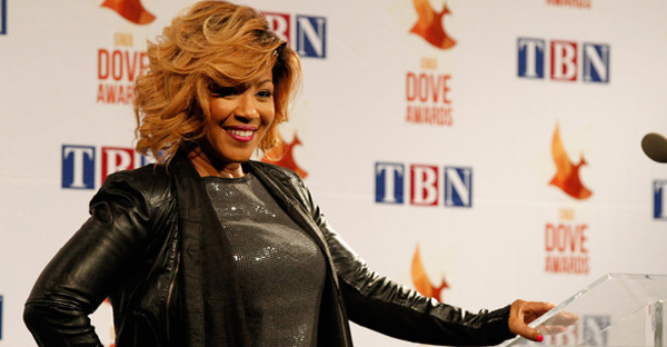 Erica Campbell backstage during the 45th Annual Dove Awards at Allen Arena, Lipscomb University on October 7, 2014 in Nashville, Tennessee. (Terry Wyatt/Getty Images North America)