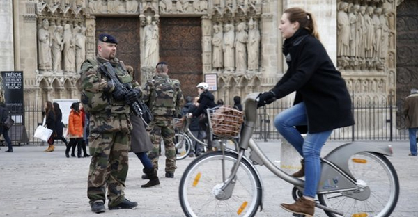 Soldiers could be seen outside Notre Dame cathedral in Paris this week (Reuters)