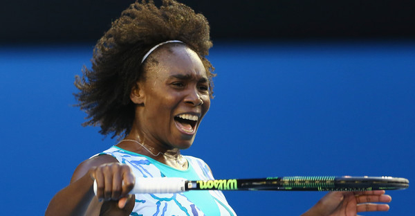 Venus Williams of the United States reacts after missing a point in her fourth round match against Agnieszka Radwanska of Poland during day eight of the 2015 Australian Open at Melbourne Park on January 26, 2015 in Melbourne, Australia. (Quinn Rooney/Getty Images AsiaPac)