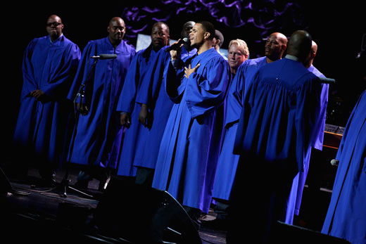 The NFL Players Choir performs onstage during 16th Annual Super Bowl Gospel Celebration at ASU Gammage on January 30, 2015 in Tempe, Arizona. (Photo by Imeh Akpanudosen/Getty Images for Super Bowl Gospel)