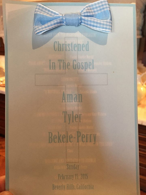 The program for the christening of Aman Tyler Bekele-Perry. (Facebook/Tyler Perry)