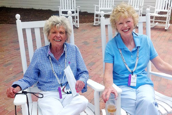 """""""She loved golf. I think she loved people more than golf, and we know how much she loved golf,"""" Chris Berman said of Rhonda Glenn (right), seen here with former U.S. Women's Amateur champion Barbara Romack. """"Everything she did was from the heart."""""""