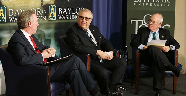 Catholic University President John Garvey, Yeshiva University President Richard Joel and Baylor University President and Chancellor Ken Starr discuss the state of higher education and the calling of faith-based universities Feb 4. (Photo by Robert Rogers/Baylor Marketing and Communications)