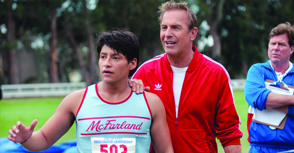"""Academy Award winner Kevin Costner, center, portrays cross-country coach Jim White in Disney's """"McFarland, USA."""" """"It's an honor to have him play me,"""" the real-life White said. (PHOTO PROVIDED BY DISNEY MOVIES)"""