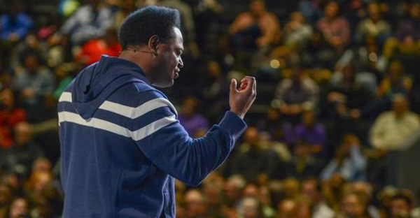 Pastor Derwin Gray delivers his message in front of another full house during a recent Sunday morning service at Transformation Church in Indian Land. (ROB UPTON — Special to The Herald)