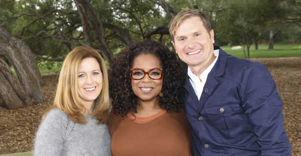 Kristen Bell (L), Oprah Winfrey and former Mars Hill Bible Church pastor and best-selling author Rob Bell (R). (PHOTO: HARPO STUDIOS)