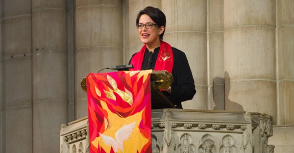 The Rev. Amy Butler, who was the pastor at Washington, D.C.'s Calvary Baptist Church for 11 years, is the first female senior minister at Riverside Church in New York City. (Dave Cross)