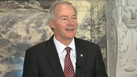 Arkansas Gov. Asa Hutchinson holds a press conference, April 1, 2015, in response to the Religious Freedom Act. (KATV)