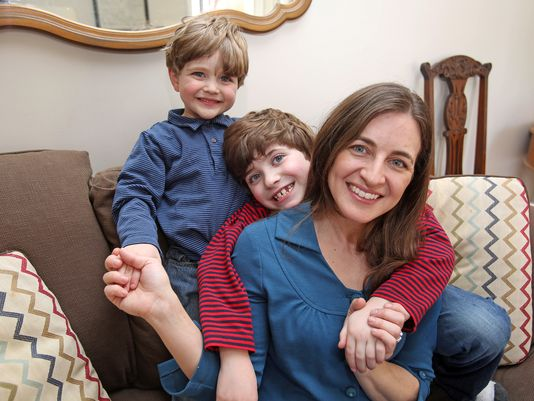 Emily Timmel and her two sons, Gabriel, 7, and Elliot, 5, who are being raised Jewish and Catholic, at home Wednesday in Croton-on-Hudson. (Photo: Carucha L. Meuse/The Journal News)