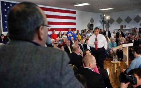 New Jersey Gov. Chris Christie, R-N.J. takes a questions during a town hall meeting with area residents in Londonderry, N.H., Wednesday, April 15, 2015. (AP Photo/Jim Cole)