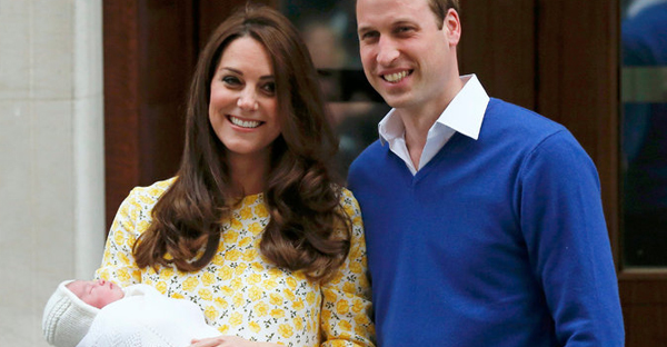 Kate, Duchess of Cambridge, and Prince William, Duke of Cambridge, with their newborn daughter at St. Mary's Hospital in London on Saturday. (Suzanne Plunkett/Reuters)
