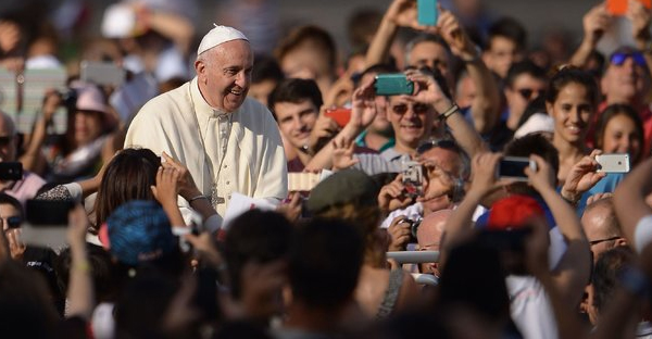 Pope Francis was greeted by crowds at St. Peter's Square this week. (Filippo Monteforte/Agence France-Presse — Getty Images)