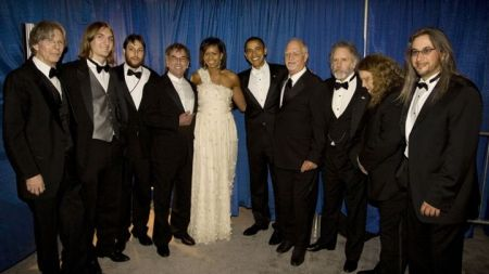 President Barack Obama and Michelle Obama pose with members of the Grateful Dead during one of their January 2009 inaugural balls. (David Hume Kennerly/Getty Images News)