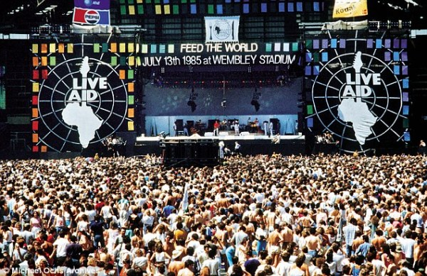 Live Aid, considered by many to be the biggest rock concert in world history, took place in Philadelphia and London on July 13, 1985, and reportedly raised more than $230 million for African famine relief.