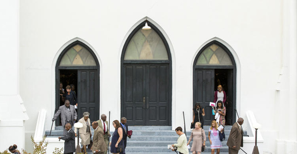Members of Mother Emanuel African Methodist Episcopal Church stream out after the service ended on September 27, 2015 in Charleston, SC. (Alex Holt / for the Chicago Tribune)