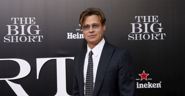 """November 23, 2015. Cast member Brad Pitt poses on the red carpet at the premiere of """"The Big Short"""" in New York. (Reuters)"""