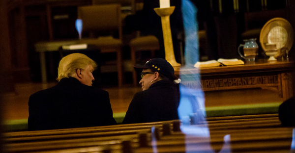 Donald J. Trump at First Presbyterian Church in Muscatine, Iowa, on Sunday. Mr. Trump attended an hourlong service. (Credit: Eric Thayer for The New York Times)