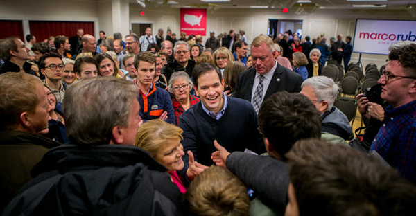 Senator Marco Rubio shook hands after a campaign event in Cedar Rapids, Iowa, on Sunday. (Credit: Sam Hodgson for The New York Times)