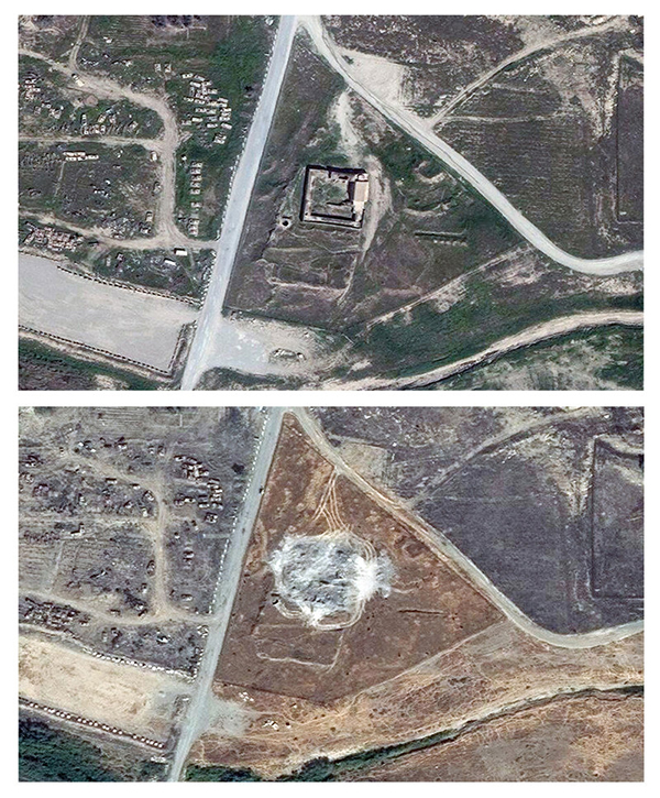 This combination of two satellite images provided by DigitalGlobe, taken on March 31, 2011 (top), and Sept. 28, 2014, shows the site of the Christian monastery known as St. Elijah's, or Dair Mar Elia. (AP)