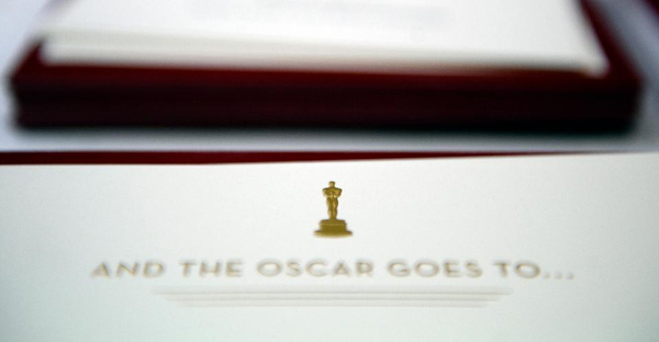 Oscar envelopes are on display during behind-the scenes look at the production of Oscar envelopes for the 88th Annual Academy Awards at Marc Friedland Couture Communications on February 22, 2016, in Los Angeles, California. (Photo by Kevork Djansezian/Getty Images)